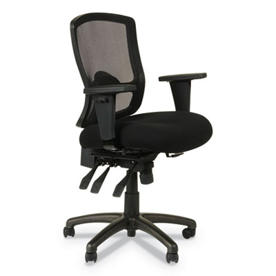 Alera Etros Series Mesh Mid-Back Petite Multifunction Chair, Supports up to 275 lbs., Black Seat/Black Back, Black Base (ALEET4017)