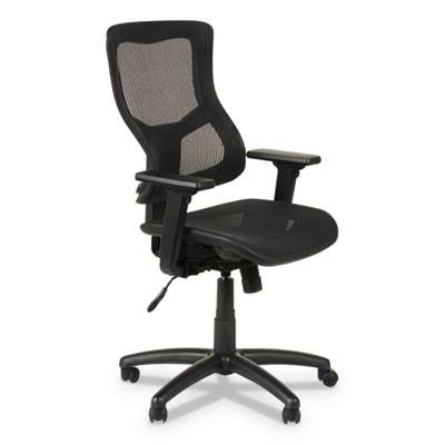 Alera Elusion II Series Suspension Mesh Mid-Back Synchro with Seat Slide Chair, Up to 275 lbs., Black Seat/Back, Black Base (ALEELT4218S)