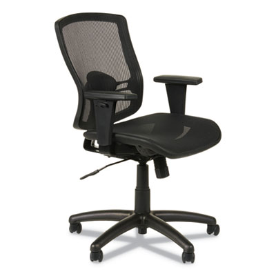 Alera Etros Series Suspension Mesh Mid-Back Synchro Tilt Chair, Supports up to 275 lbs., Black Seat/Black Back, Black Base (ALEET4218)