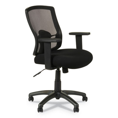 Alera Etros Series Mesh Mid-Back Chair, Supports up to 275 lbs., Black Seat/Black Back, Black Base (ALEET42ME10B)