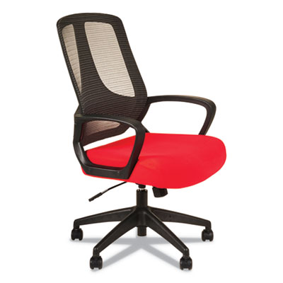 Alera MB Series Mesh Mid-Back Office Chair, Supports up to 275 lbs., Red Seat/Black Back, Black Base (ALEMB4738)