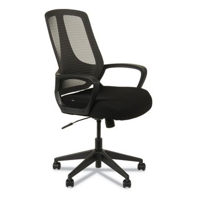 Alera MB Series Mesh Mid-Back Office Chair, Supports up to 275 lbs., Black Seat/Black Back, Black Base (ALEMB4718)