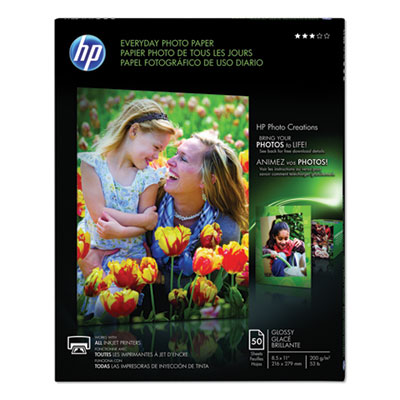 HP Everyday Glossy Photo Paper-50 sht/Letter/8.5 x 11 in (Q8723A)