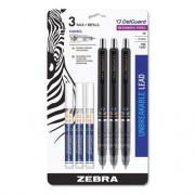 Zebra Delguard Mechanical Pencil, 0.5 mm, HB (#2.5), Black Lead, Black Barrel, 3/Pack (10613)