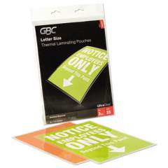 "GBC UltraClear Thermal Laminating Pouches, 3 mil, 9"" x 11.5"", Gloss Clear, 25/Pack (3200577B)"