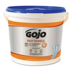 GOJO FAST TOWELS Hand Cleaning Towels, Cloth, 9 x 10, Blue 225/Bucket (629902EA)