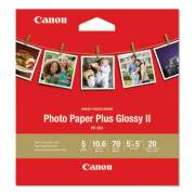 Canon Photo Paper Plus Glossy II, 10.6 mil, 5 x 5, White, 20 Sheets/Pack (1432C012)