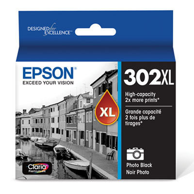 Epson T302XL120-S (T302XL) Claria High-Yield Ink, Photo Black