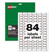 Avery PermaTrack Destructible Asset Tag Labels, Laser Printers, 0.5 x 1, White, 84/Sheet, 8 Sheets/Pack (60535)
