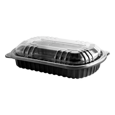 Anchor Packaging MicroRaves Rib Container w/Vented Anti-Fog Lids, Half Slab, Black/Clear, 150/CT (4401900)