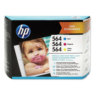 HP 564 Photo and Card Value Pack-50 sht/4 x 6 in and 10 sht/5 x 7 in (J2X80AN)