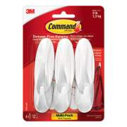 Command Designer Hooks, Plastic, White, 3 lb Cap, 6 Hooks and 12 Strips/Pack (170816ES)