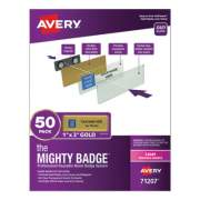 Avery The Mighty Badge Name Badge Holder Kit, Horizontal, 3 x 1, Laser, Gold, 50 Holders/120 Inserts (71207)