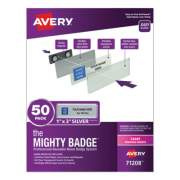 Avery The Mighty Badge Name Badge Holder Kit, Horizontal, 3 x 1, Laser, Silver, 50 Holders/120 Inserts (71208)
