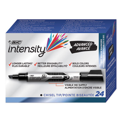 BIC Intensity Tank-Style Advanced Dry Erase Marker, Broad Bullet Tip, Black, 24/Pack (GELITP241BK)