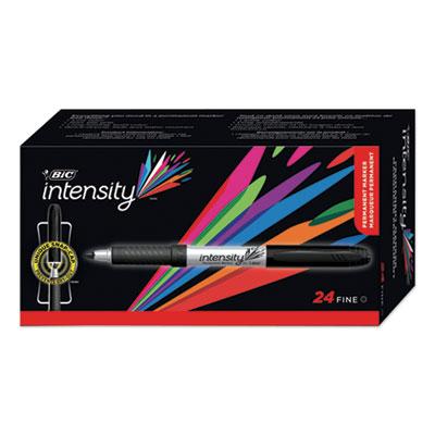BIC Intensity Permanent Marker Value Pack, Fine Bullet Tip, Black, 24/Pack (GPM241BK)