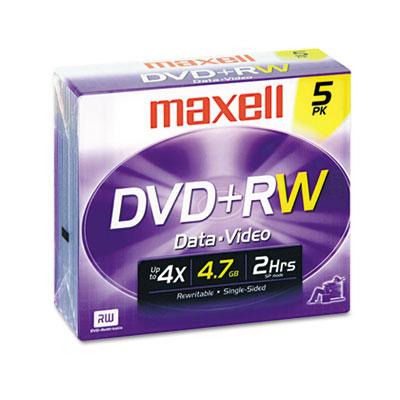 Maxell DVD+RW Discs, 4.7GB, 4x, w/Jewel Cases, Silver, 5/Pack (634045)