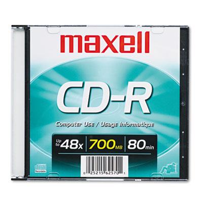 Maxell CD-R Disc, 700MB/80min, 48x, w/Slim Jewel Case, Silver (648201)