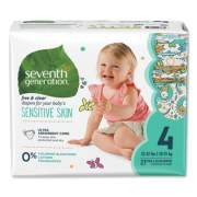 Seventh Generation Free and Clear Baby Diapers, Size 4, 22 lbs to 32 lbs, 108/Carton (44063)