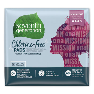 Seventh Generation Chlorine-Free Ultra Thin Pads with Wings, Super Long, 16/Pack, 6 Packs/Carton (450046)