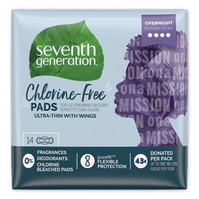 Seventh Generation Chlorine-Free Ultra Thin Pads with Wings, Overnight, 14/Pack, 6 Packs/Carton (450039)