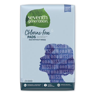 Seventh Generation Chlorine-Free Maxi Pads, Regular, 24/Pack, 12 Packs/Carton (45000)