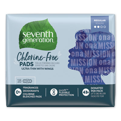 Seventh Generation Chlorine-Free Ultra Thin Pads with Wings, Regular, 18/Pack, 6 Packs/Carton (450022)
