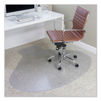 ES Robbins EverLife Chair Mats for Medium Pile Carpet, Contour,  66 x 60, Clear (122775)