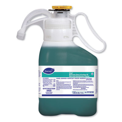 Diversey Crew Restroom Floor and Surface SC Non-Acid Disinfectant Cleaner, Fresh, 1.4 L Bottle, 2/Carton (101102189)