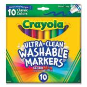 Crayola Ultra-Clean Washable Markers, Broad Bullet Tip, Assorted Colors, 10/Pack (578609)