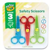 My First Crayola Safety Scissors, Rounded Tip, Assorted Straight Handles, 3/Pack (2754634)