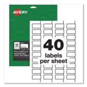 Avery PermaTrack Destructible Asset Tag Labels, Laser Printers, 0.75 x 1.5, White, 40/Sheet, 8 Sheets/Pack (60529)