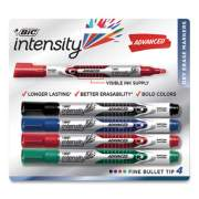 BIC Intensity Pocket-Style Advanced Dry Erase Marker, Medium Bullet Tip, Assorted, 4/Pack (71293)