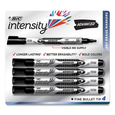 BIC Intensity Pocket-Style Advanced Dry Erase Marker, Medium Bullet Tip, Black, 4/Pack (71698)