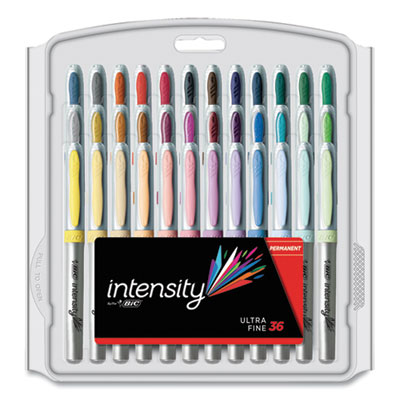 BIC Intensity Permanent Marker, Extra-Fine Needle Tip, Assorted Vivid Fashion Colors, 36/Pack (809229)