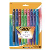 BIC BU3 Retractable Ballpoint Pen, Medium 1 mm, Assorted Fashion Inks/Barrels, 18/Pack (2625472)