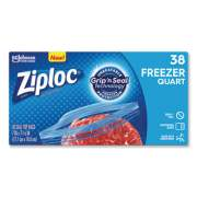 "Ziploc Double Zipper Freezer Bags, 1 qt, 2.7 mil, 6.97"" x 7.7"", Clear, 9/Carton (314444)"