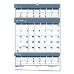 House of Doolittle Recycled Bar Harbor Three-Months-per-Page Wall Calendar, 15.5 x 22, 2020-2022 (343)