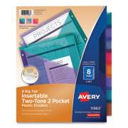 Avery Big Tab Insertable Two-Pocket Plastic Dividers, 8-Tab, 11.13 x 9.25, Assorted, 1 Set (710147)
