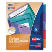 Avery Big Tab Insertable Two-Pocket Plastic Dividers, 5-Tab, 11.13 x 9.25, Assorted, 1 Set (710149)