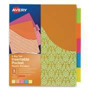 Avery Big Tab Insertable One-Pocket Plastic Dividers, 5-Tab, 11.13 x 9.25, Assorted, 1 Set (1509233)