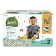 Seventh Generation Free and Clear Baby Diapers, Size 2, 12 lbs to 18 lbs, 96/Carton (24400160)