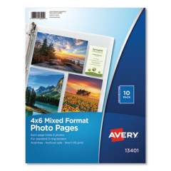 Avery Photo Storage Pages for Six 4 x 6 Mixed Format Photos, 3-Hole Punched, 10/Pack (13401)