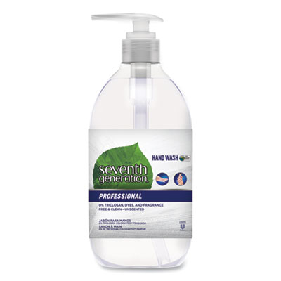 Seventh Generation Natural Hand Wash, Free and Clean, Unscented, 12 oz Pump Bottle, 8/Carton (44729CT)