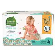 Seventh Generation Free and Clear Baby Diapers, Size 4, 22 lbs to 32 lbs, 81/Carton (24400162)