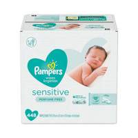 Pampers Sensitive Baby Wipes, White, Cotton, Unscented, 64/Pouch, 7 Pouches/Carton (19513CT)