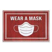 "Apache Mills Message Floor Mats, 24 x 36, Red/White, ""Wear A Mask"" (3984528842X3)"
