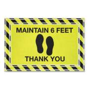 "Apache Mills Message Floor Mats, 24 x 36, Black/Yellow, ""Maintain 6 Feet Thank You"" (3984528782X3)"