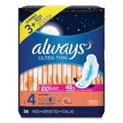 Always Ultra Thin Overnight Pads with Wings, 38/Pack, 6 Packs/Carton (95236)