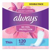 Always Thin Daily Panty Liners, Regular, 120/Pack, 6 Packs/Carton (10796)